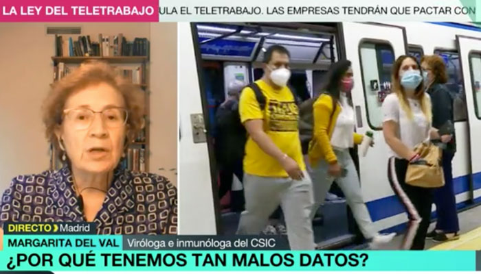 Margarita del Val (Viróloga del CSIC) desmiente a Aguado: ''La mascarilla no es garantía de que no nos contagiamos en el transporte''