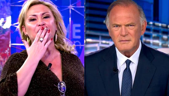 Raquel Mosquera da paso a Informativos al acabar 'Sálvame'. La cara de Pedro Piqueras lo dice todo...