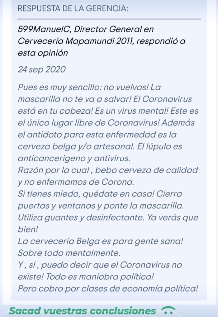 Una clienta se queja en Tripadvisor de que en una cervecería de Málaga los camareros no llevan la mascarilla y el dueño le responde