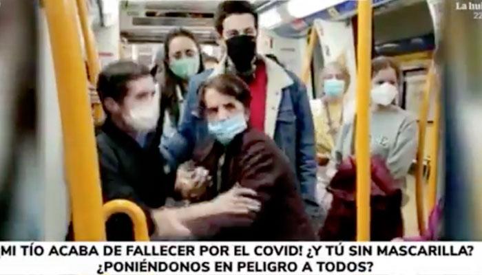 Fuerte discusión en el metro de Madrid: ''Mi tío acaba de fallecer por Covid. ¡Respeta y lleva la mascarilla!''
