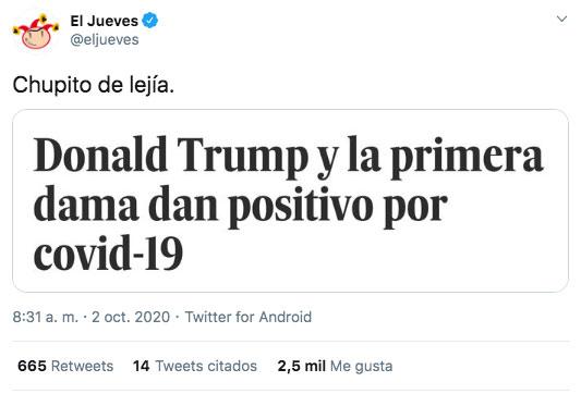 ¡Chupito de lejía!. Los mejores memes sobre el positivo en coronavirus de Donald Trump