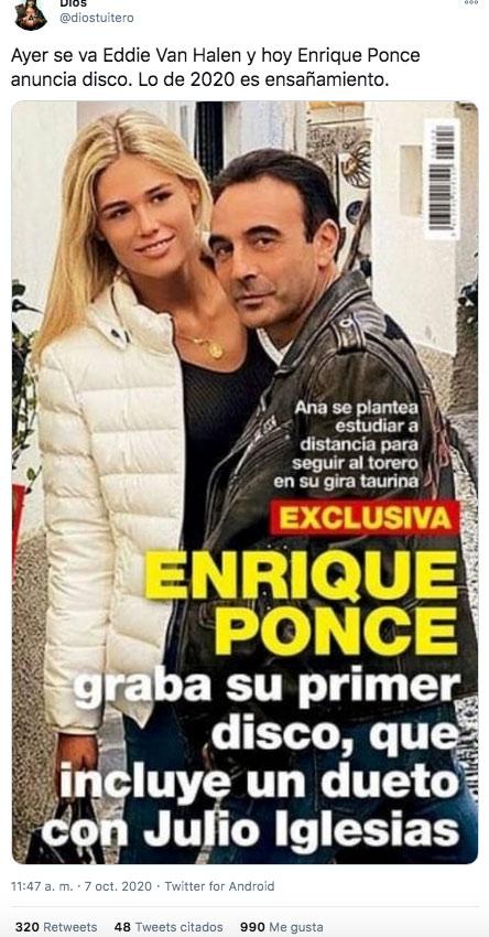 Enrique Ponce anuncia que ha grabado un disco y los memes no han tardado en aparecer