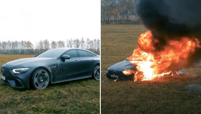 Un youtuber ruso prende fuego a su Mercedes GT 63 S de 143.000 euros