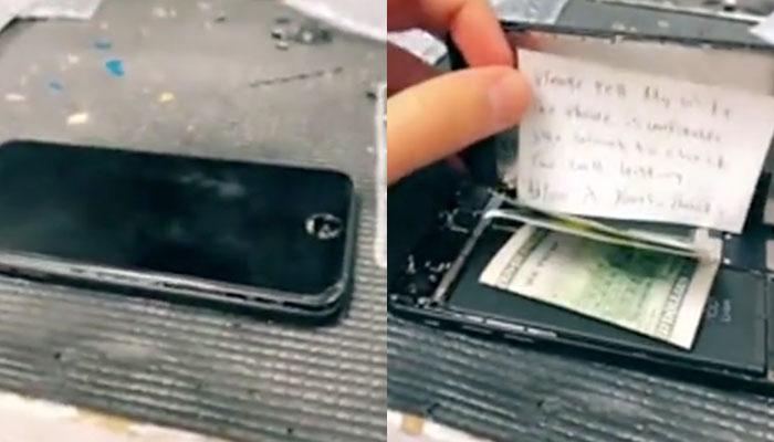 Abre un iPhone para repararlo y se encuentra una nota y un soborno: ''Dile a mi mujer que no se puede arreglar''
