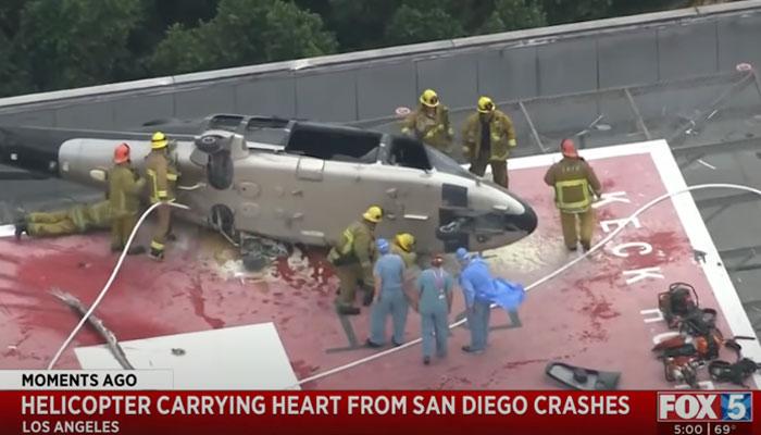 Un helicóptero que trasladaba el corazón de un donante se estrella en la azotea de un hospital. Al corazón aún le quedaba otro pequeño accidente