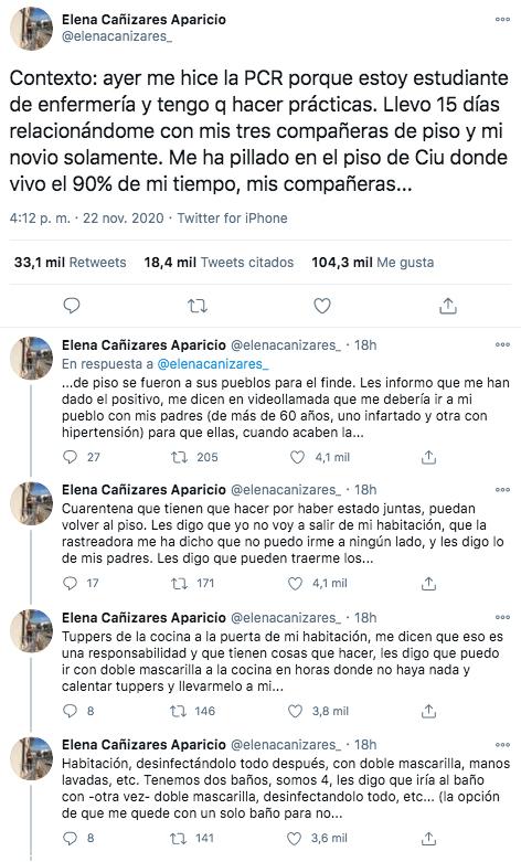 Elena Cañizares, la enfermera con Covid a la que sus compañeras de piso quieren echar, se hace viral la conversación con ellas