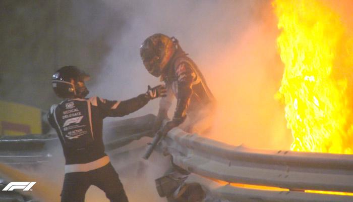 Terrorífico accidente de Romain Grosjean en Bahréin: Los milagros existen y pudo salir por su propio pie de entre las llamas tras 28 segundos