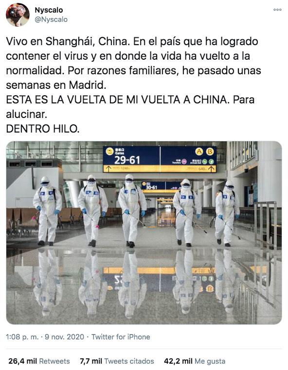 Un joven cuenta la vuelta de Madrid a Shanghái y todas las medidas que toman en China contra el coronavirus. Para alucinar