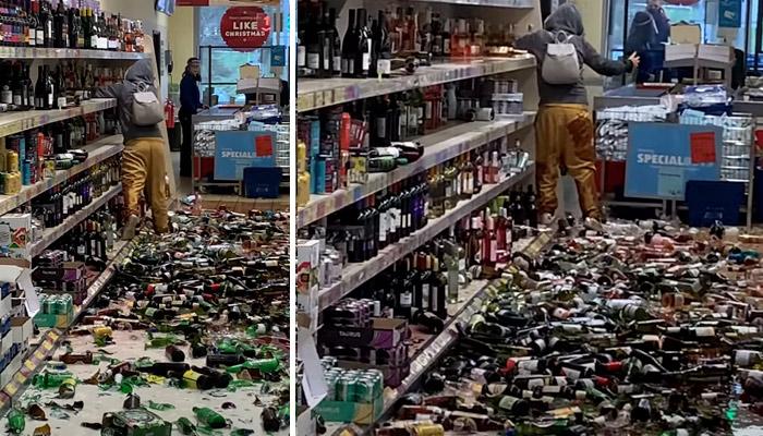 Una mujer enloquece en un supermercado y rompe cientos de botellas de alcohol contra el suelo