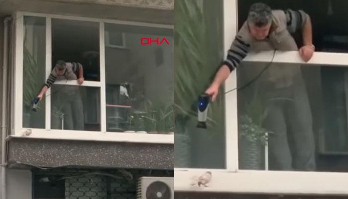 Un hombre calienta una paloma desde su ventana con un secador un día de frío y lluvia