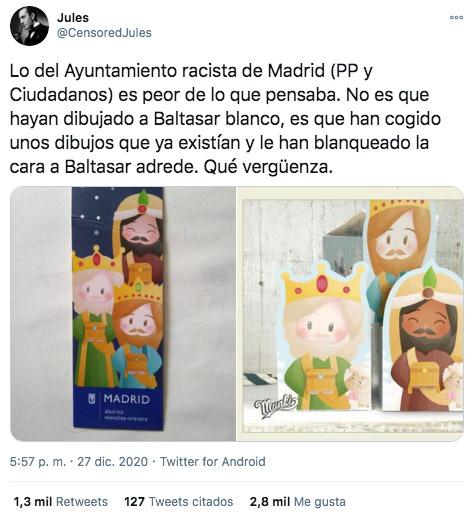 El Ayuntamiento de Madrid elimina el color negro del rey Mago Baltasar en el cartel de la cabalgata 2020