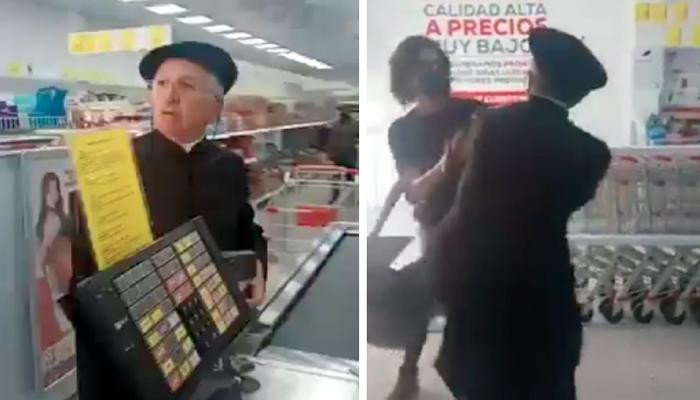 Un cura se lía a golpes contra los clientes de un supermercado que le pidieron que se pusiera la mascarilla