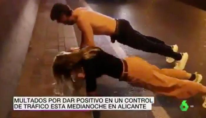 Les dan el alto en un control de tráfico en Alicante, se bajan del vehículo y se ponen a hacer flexiones para bajar la tasa de alcohol en sangre