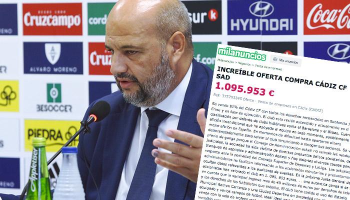 José Enrique Rodríguez Zarza pone en venta el 51% del Cádiz CF en Milanuncios por 1.095.953 euros y explica por qué lo hace