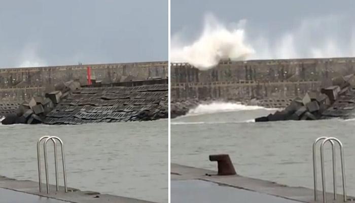Rescatan inconsciente en el agua a un joven arrastrado por una ola mientras corría por un malecón del País Vasco