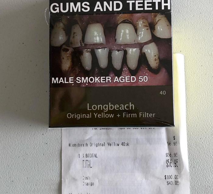 Esto es todo lo que puedes comprar en Australia con lo que cuesta un paquete de tabaco. La foto la hizo una abuela australiana para concienciar