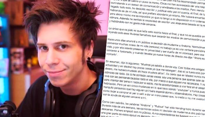 El Rubius rompe su silencio sobre su marcha a Andorra y publica un comunicado