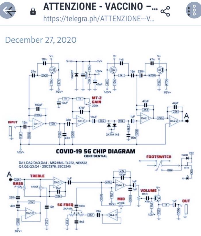 Negacionistas están difundiendo esquema de un pedal de guitarra eléctrica como supuesto plano del chip 5G de la vacuna