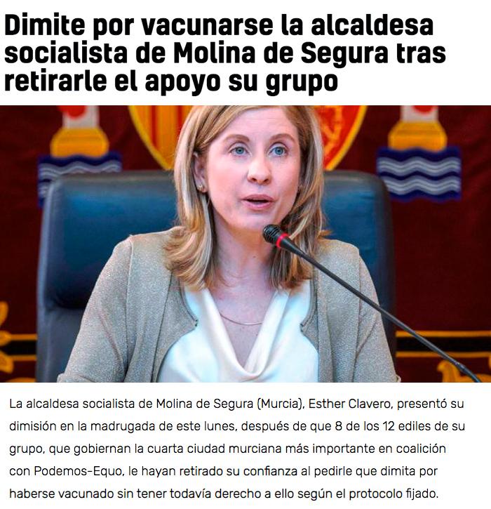 Carta a la alcaldesa de Molina de Segura (Murcia) de un pediatra