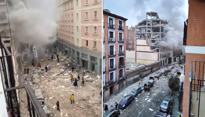 Fuerte explosión en la calle Toledo de Madrid. El edificio ha quedado destrozado