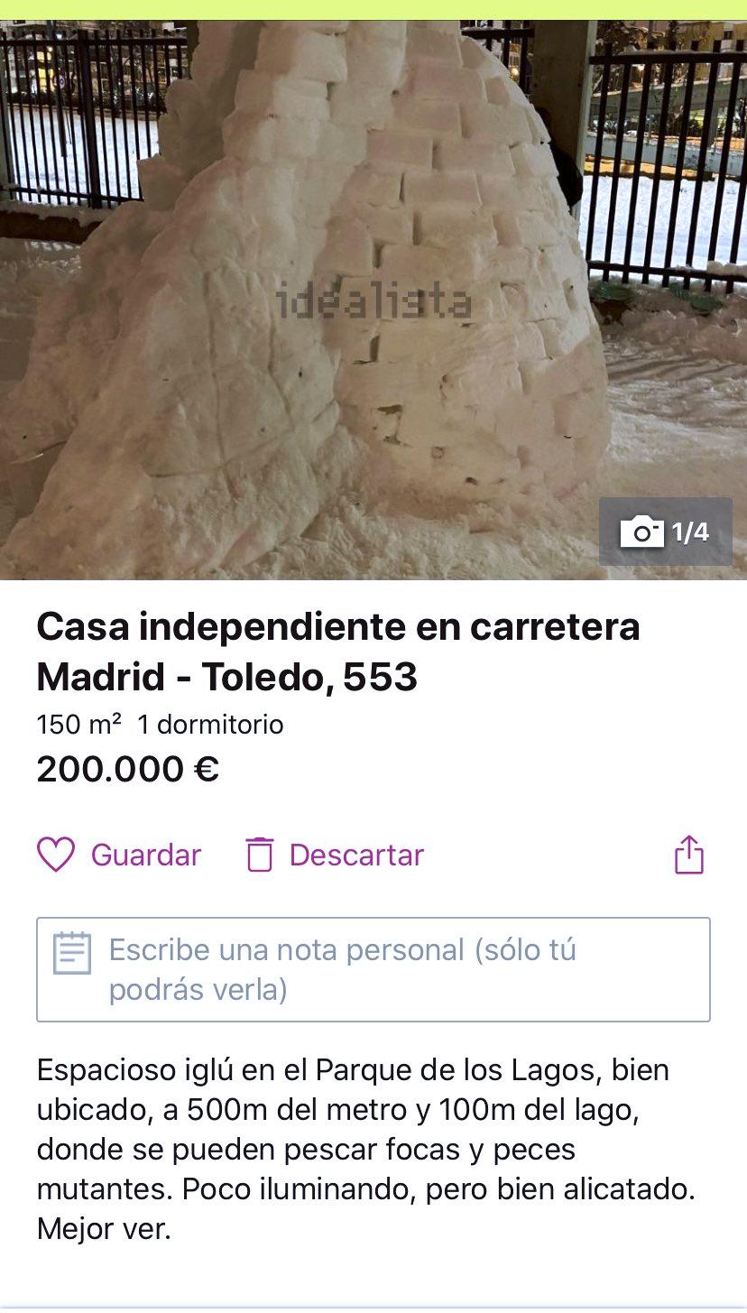 Alguien ha puesto a la venta un iglú en Madrid en Idealista