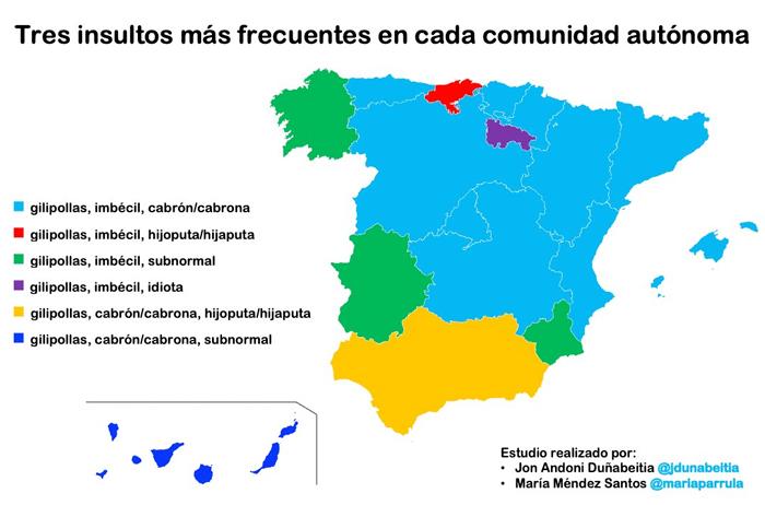 Un estudio analiza los insultos más comunes en cada Comunidad Autónoma de España