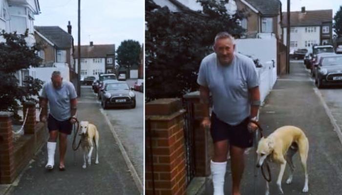 Un hombre en muletas se gasta dinero en rayos X para su perro 'cojo' y descubre que él lo imitaba