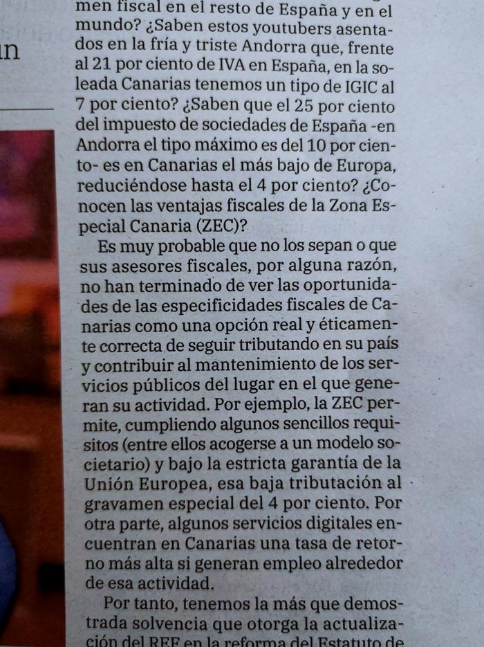 El despiste de los youtubers que se van a Andorra: en Canarias tributarían al 4% y no al 10%