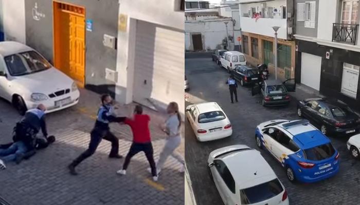 Dos agentes de la policía local de Arrecife golpean a dos personas que grababan una detención
