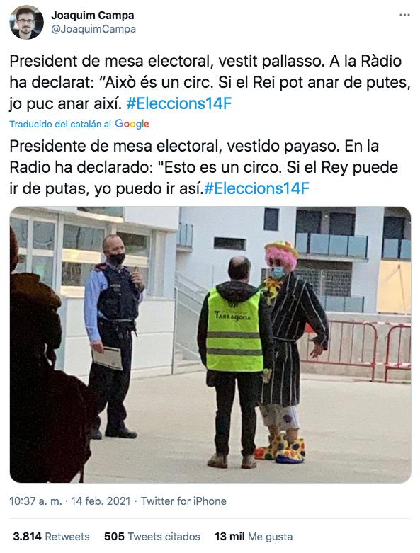 El presidente de una mesa electoral en Cataluña vestido payaso. Ojo a sus declaraciones en la radio
