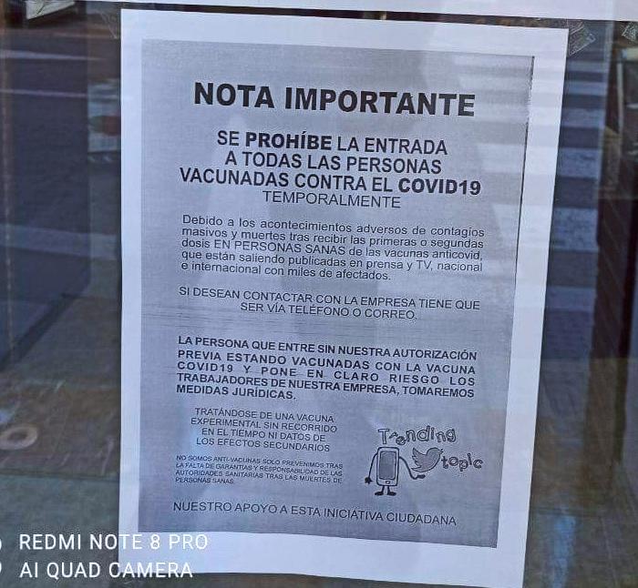 ''Se prohíbe la entrada a todas las personas vacunadas contra el Covid-19''
