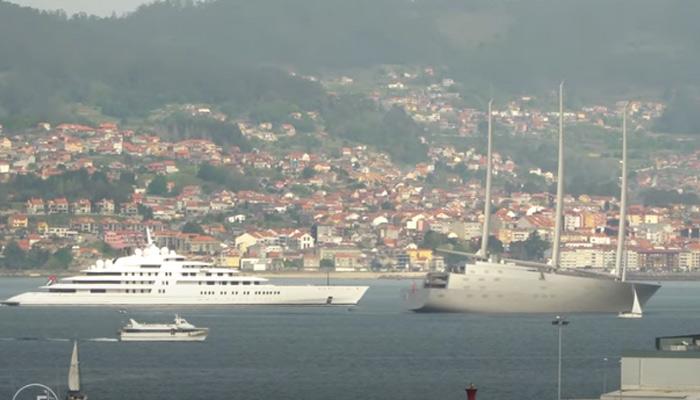 Momento en el que dos de los yates más lujosos del mundo se cruzan en la Ría de Vigo