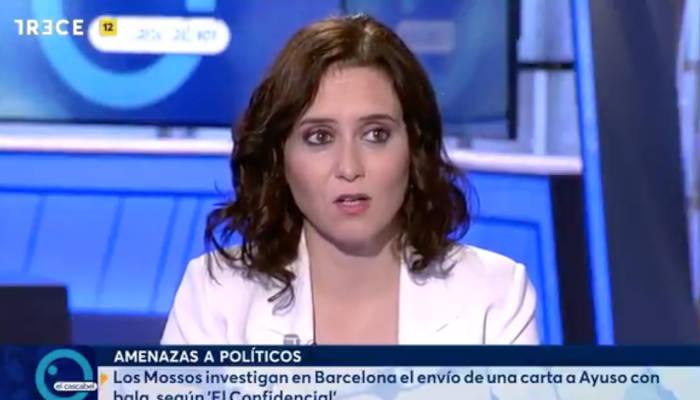Correos intercepta en Barcelona una carta con balas destinada a Isabel Díaz Ayuso