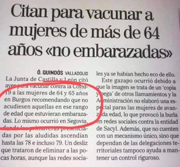 """Castilla y León cita para vacunar a mujeres de más de 64 años que """"no estén embarazadas"""""""