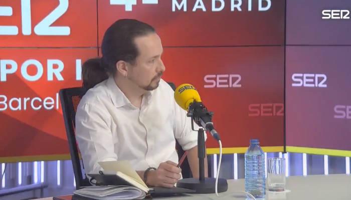 Pablo Iglesias abandona el debate de La Ser tras un fuerte enfrentamiento con Rocío Monasterio