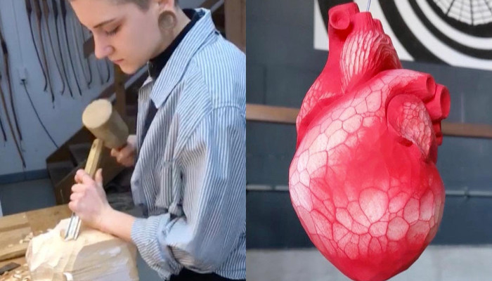Este corazón está hecho a mano tallado en madera por una artista alemana de 24 años
