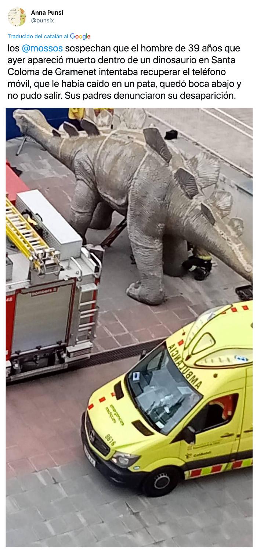 Más información sobre el caso del hombre encontrado muerto dentro de un dinosaurio en Santa Coloma