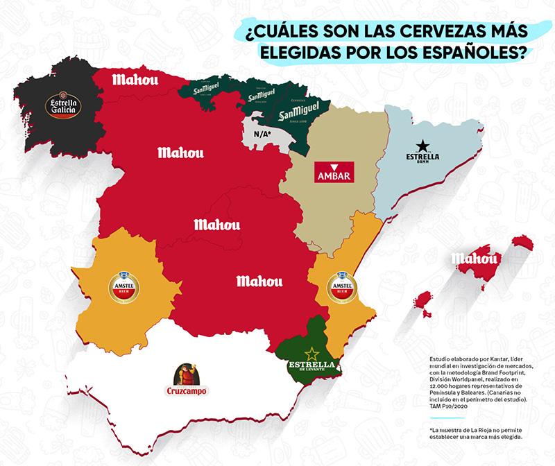 La cerveza preferida de los españoles en cada comunidad autónoma