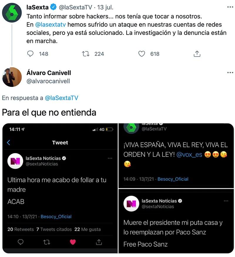 Hackean varias cuentas de Twitter de La Sexta y publican los siguientes mensajes...