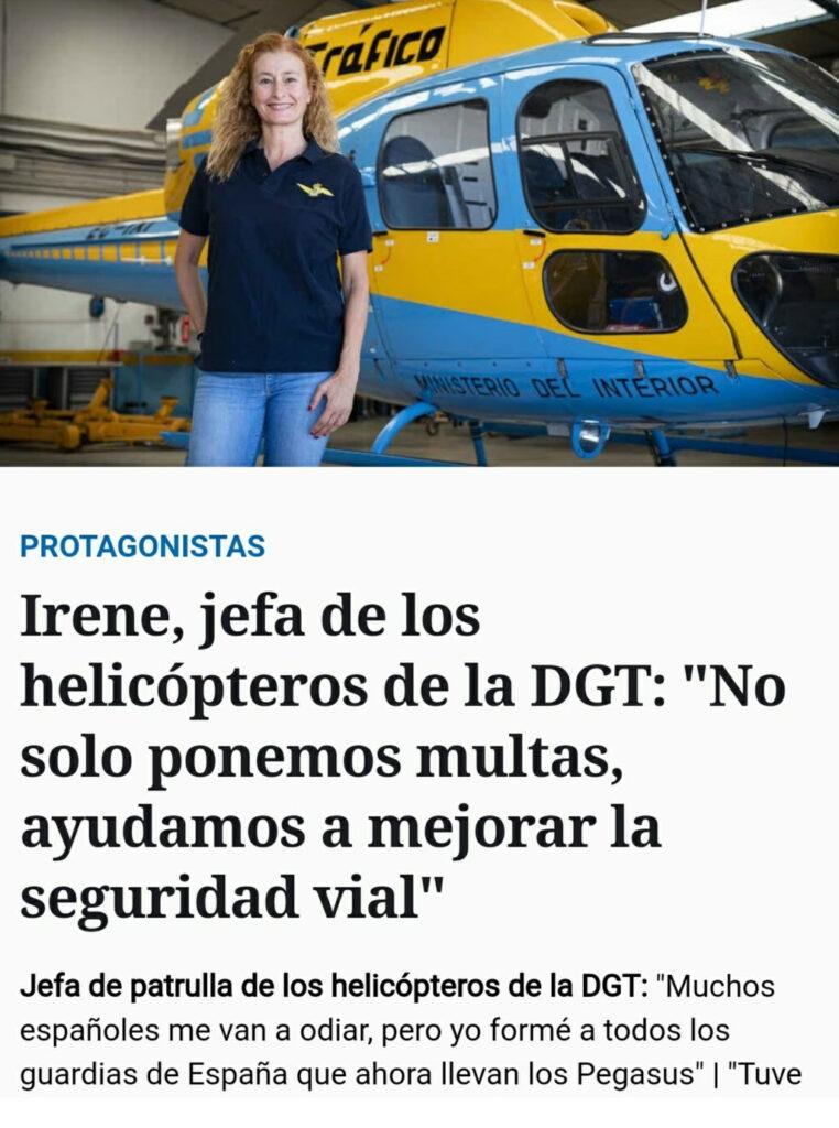 Irene, jefa de los helicópteros de la DGT: ''No solo ponemos multas, ayudamos a mejorar la seguridad vial''