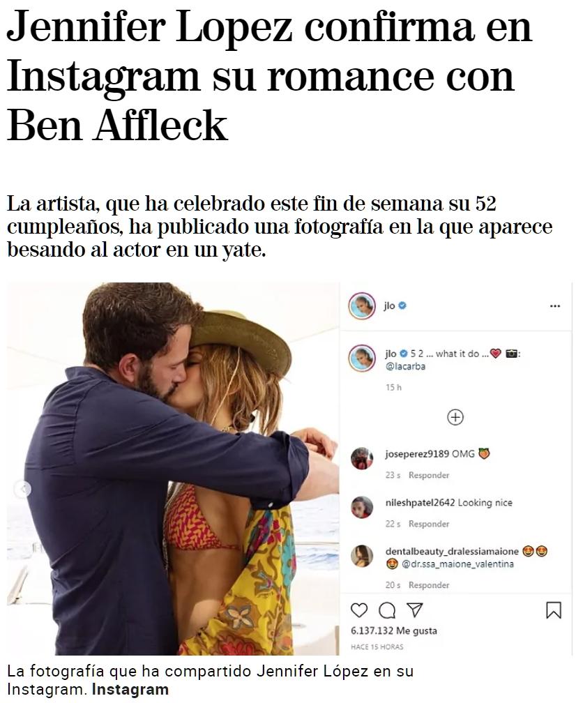 Jennifer López y Ben Affleck vuelven a estar juntos después de 20 años