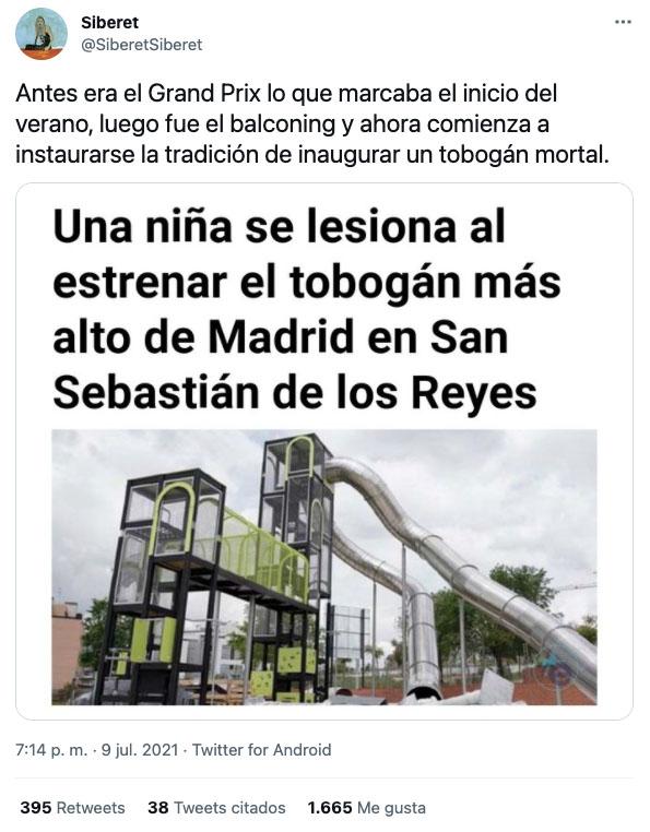 Una niña se lesiona al estrenar el tobogán más alto de Madrid en San Sebastián de los Reyes