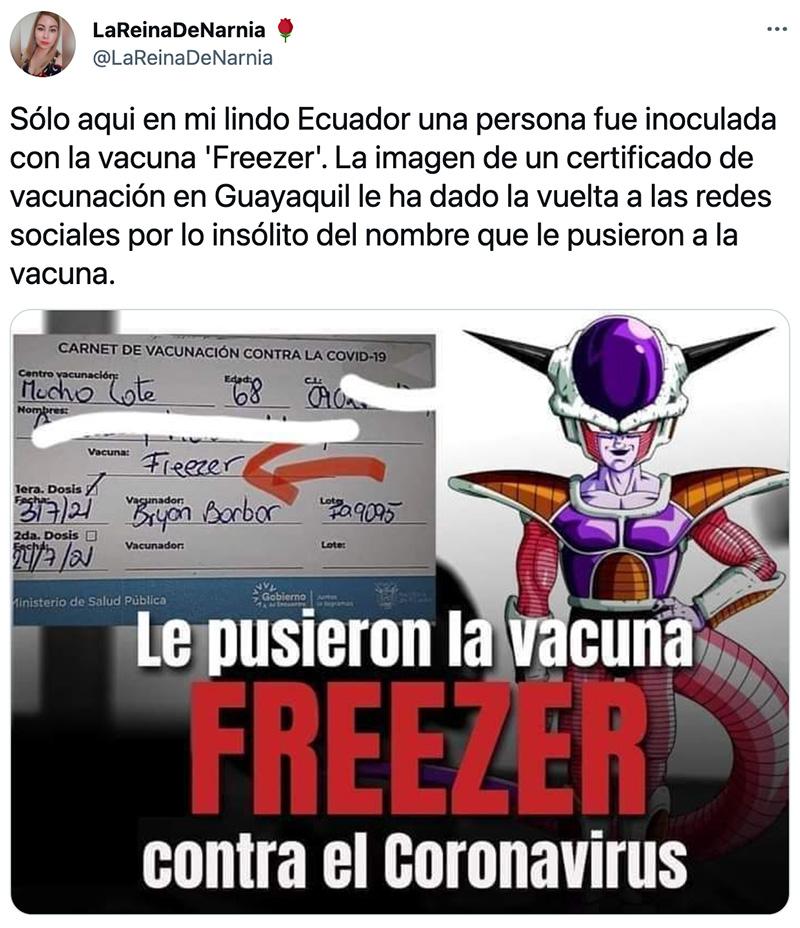 A mí si no me ponen la vacuna Freezer no quiero nada...
