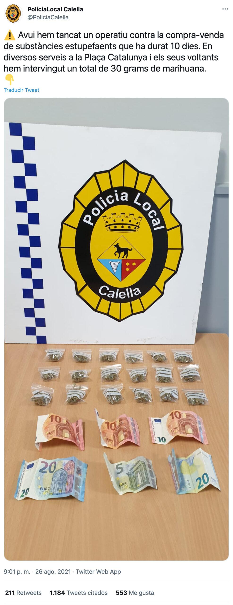 Narcos Calella: Cachondeo con el anuncio de una operación policial con 30 gramos de maría y 75 euros