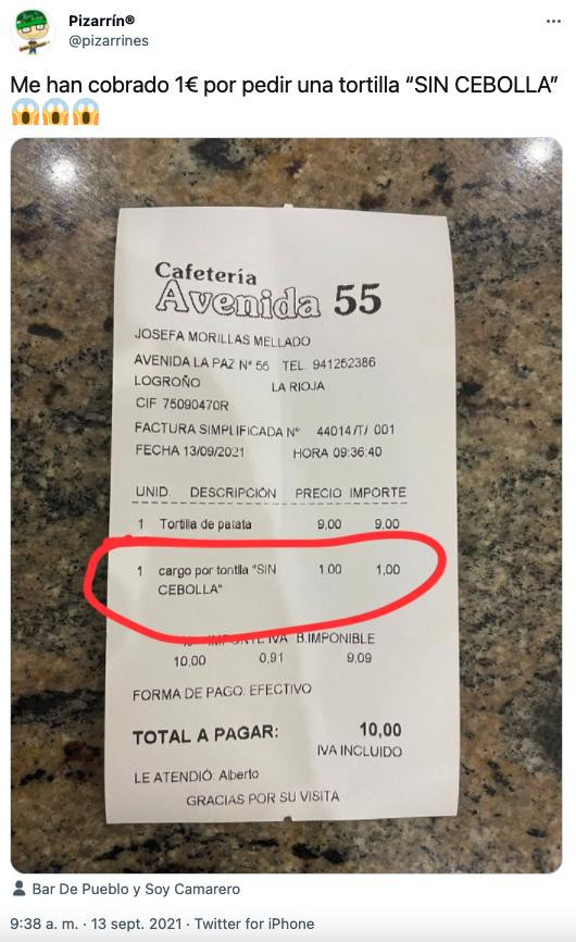 Le cobran 1 euro por pedir una tortilla sin cebolla