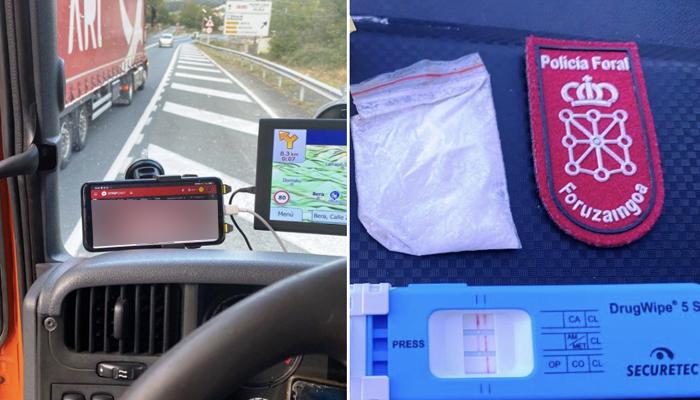 La Policía Foral de Navarra ha interceptado al conductor de un camión que circulaba drogado y viendo porn0