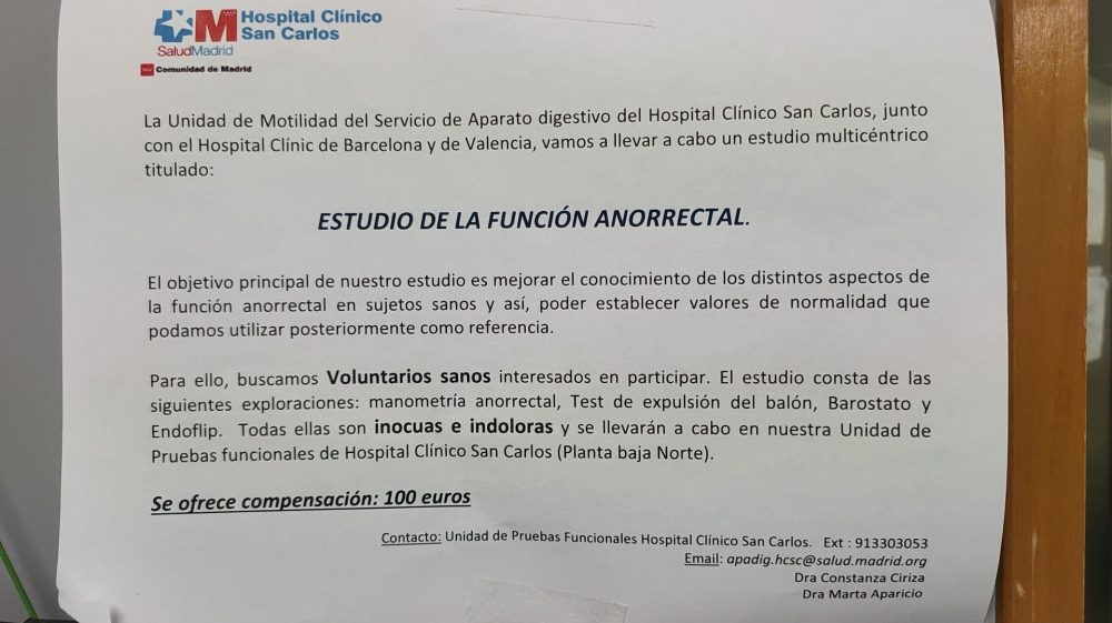 Estudio de la función anorrectal en el Hospital Clínico San Carlos de Madrid
