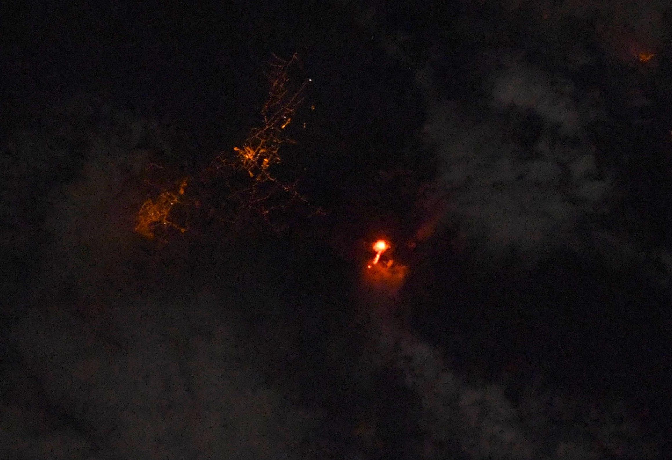 El volcán de La Palma desde la estación espacial Internacional