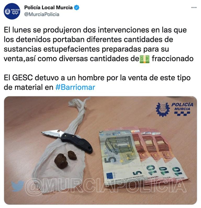 Policía Local de Murcia: El lunes se produjeron dos intervenciones en las que los detenidos portaban diferentes cantidades de sustacis estupefacientes así como diversas cantidades de dinero